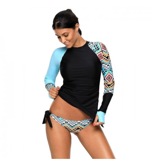 High collar long sleeve colorful prints plus-size two-piece swimsuit with chest pad without steel bracket