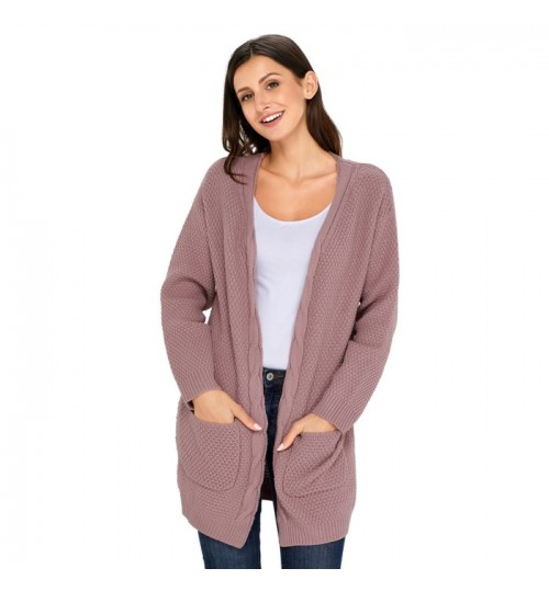 New Autumn Winter cardigan long sleeves 2 pockets knit casual long sweater