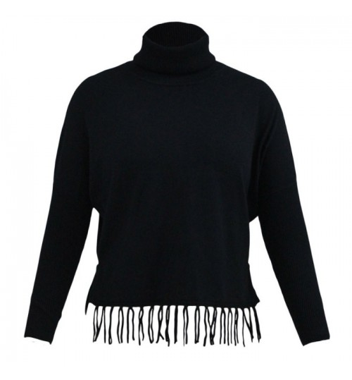 New Autumn Winter high collar long sleeve loose knit fringe sweater