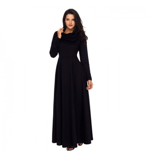 New Autumn Winter party solid color high collar long sleeve pleated big dress