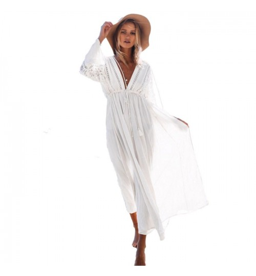 New beach holiday deep V-neck long sleeve lace band sun protection dress