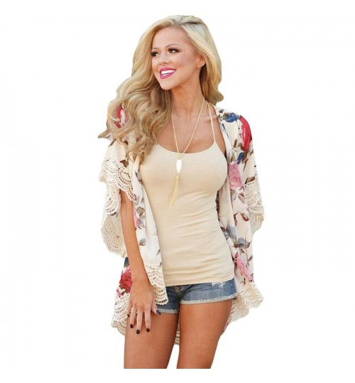 New beach holiday white cardigan short sleeve floral print blouse sun protection clothes