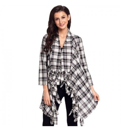 new black and white plaid stitching fringe trim casual cardigan knit sweater