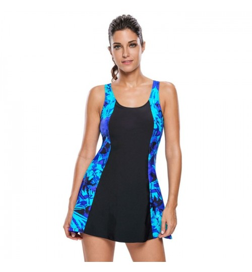 New black and white stitching prints back cross straps one-piece swimsuit