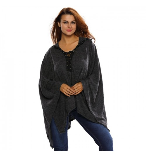 new black V-neck cross-sleeved long sleeve loose cloak long hooded jacket