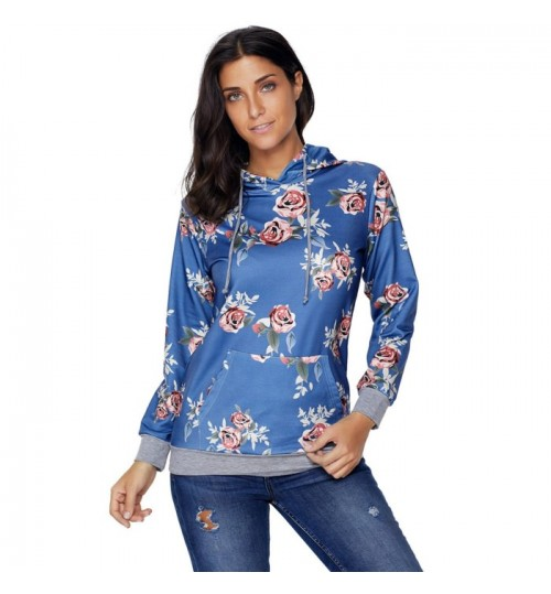 new blue long sleeve prints pocket comfort pullover casual hooded sweater