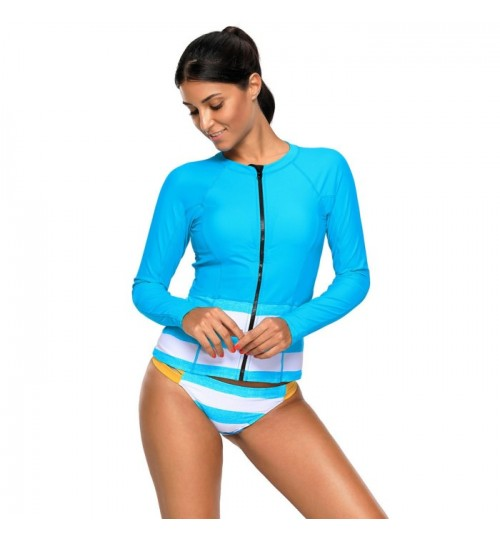 New blue round collar long sleeve zipper two-piece swimsuit
