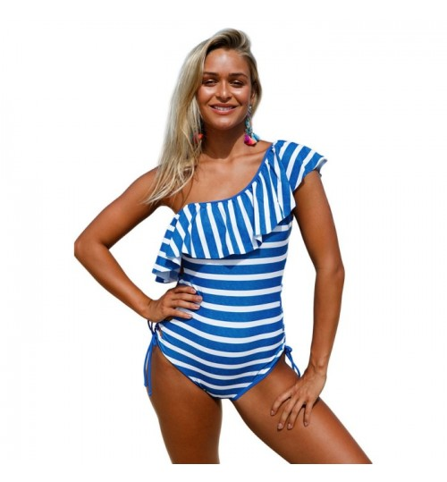 New blue white frill single soulder bra pad one-piece swimsuit