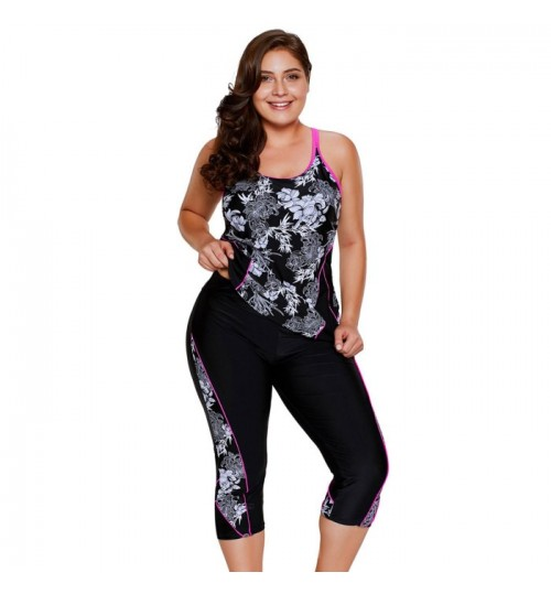 New carved flower pattern camisole cropped trousers plus-size swimsuit