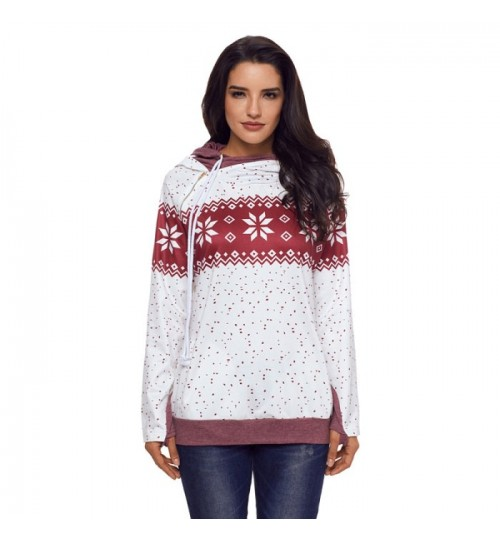 new daily campaign snowflake pattern long sleeve two-pocket leisure hooded sweater