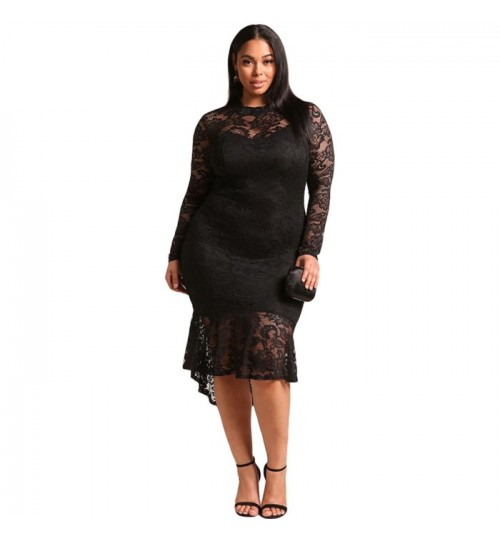 New Europe and the United States in Autumn Winter plus-size round collar long sleeve side zipper lace fat lady Dress