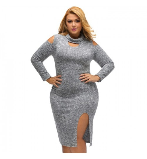 New fat woman plus-size gray round collar long sleeve skirt split knit sweater