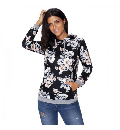 new floral print long sleeve pocket sweater sports and leisure hooded sweater