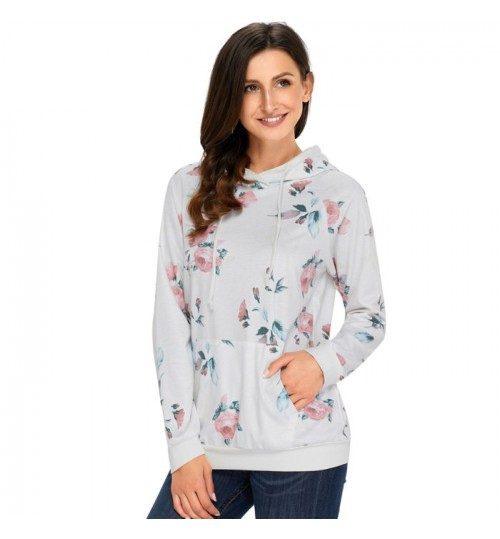 new gray floral prints long sleeve pocket hooded sweater casual shirt