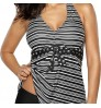 New backless striped conservative V-neck high elastic two-piece swimming suit