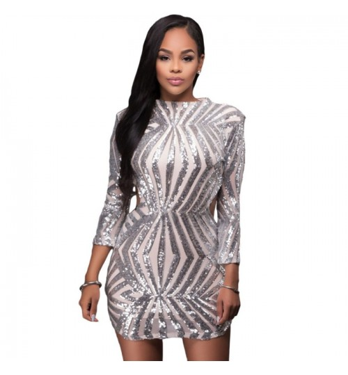 New high collar long sleeve hollow openwork hollow back sequins party mini dress
