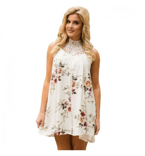 New high collar sleeveless floral print knit bohemian vintage Dress