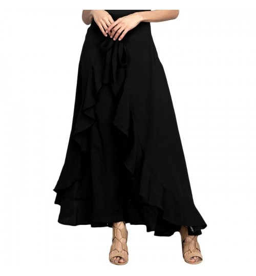 New high rise chiffon bowknot ribbon falbala ruffle skirt