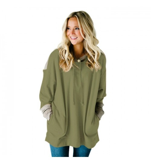 New long sleeve pocket long knit casual hooded sweater for women