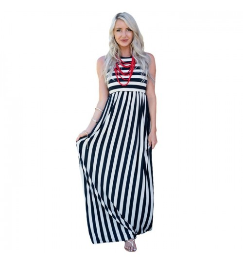 New multicolor stitching stripes high collar sleeveless drag dress jumpsuit dress 61621