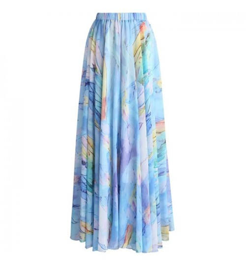 New multicolor waist elastic bandage tulip watercolor chiffon prints skirt