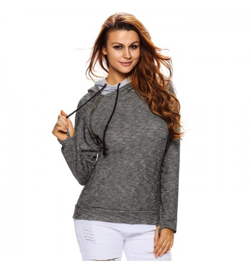 new round collar long sleeve double hooded sweater sports T-shirt