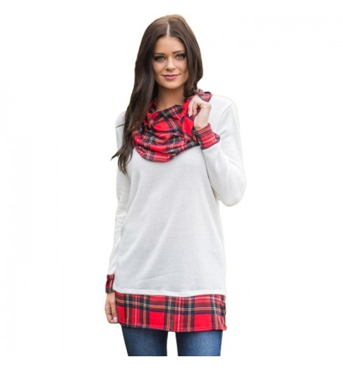 new round collar long sleeve plaid splicing bottoming shirt women casual straight blouses