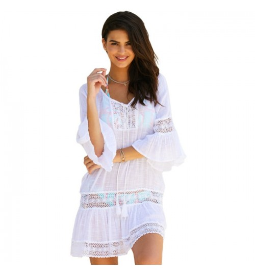 New seaside vacation V-neck bracelet sleeve bamboo lace stitching dress
