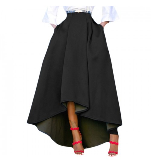 New solid color high rise asymmetrical overknee dance skirt