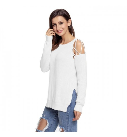 New solid color split side round collar long sleeve off shoulder casual knit sweater