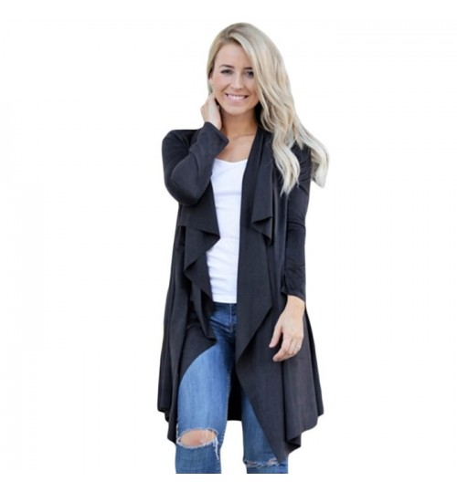 New solid color suede cardigan long sleeve casual long coat