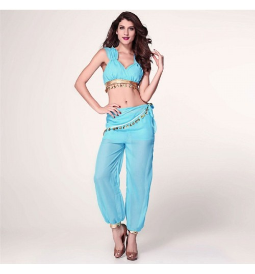 new stage uniforms sexy Aladdin magic lamp Elves Halloween blue gauze clothing