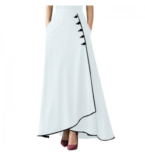 New two-color stitching high rise button style two side pocket leisure long skirt