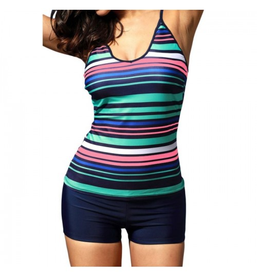 Rainbow stripe cross straps high rise bra pad two-piece swimwear