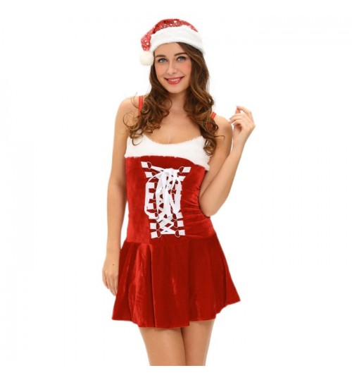 Sexy lingerie stage show Christmas party tube top strap dress hat