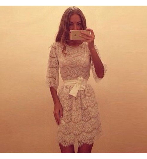 Summer new round collar half sleeve lace cocktail dress
