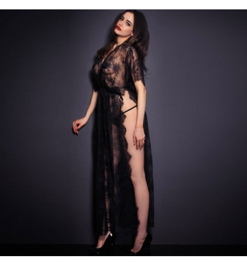 Valentine's Day new black V-neck short sleeve hollow gauze lace prints uniforms sleepwear