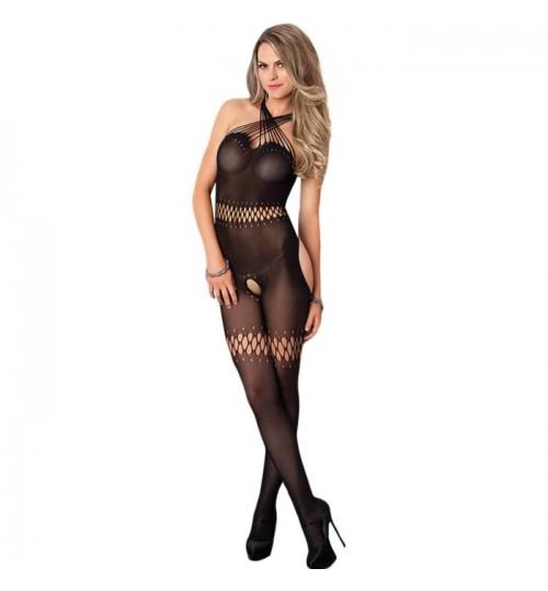 Lover sexy underwear new black tube top cross straps open-crotch bodystockings