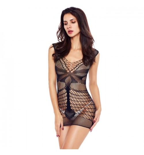 Valentine's day sexy lingerie new black round collar sleeveless fishnet stitching nightdress