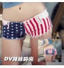 Girls Summer Jeans American Flag Shorts Nightclub pants