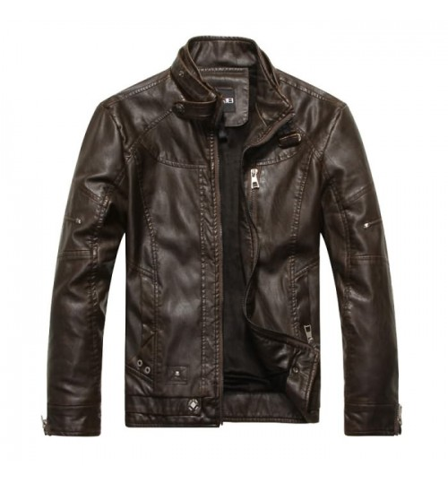 Autumn Winter European and American Men's outside fashion leather jacket