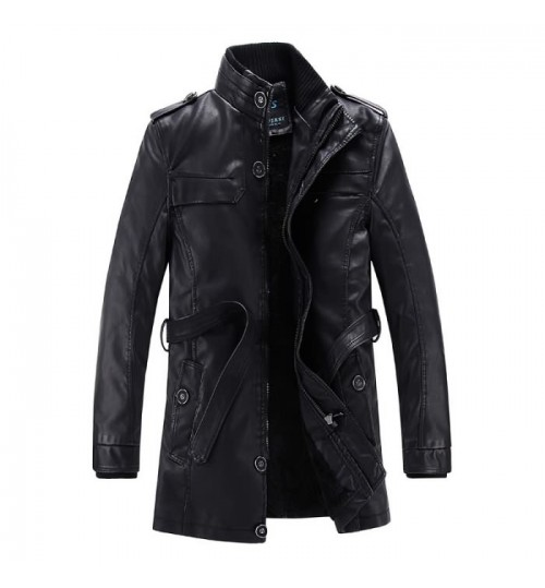 Autumn Winter men's mid-long leather clothing western fashion PU jacket
