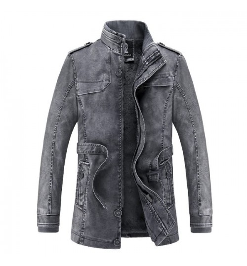 Autumn Winter men's new fur wash pu leather fashion coat