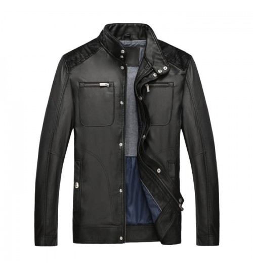 Autumn Winter new men's long-sleeved PU leather jacket