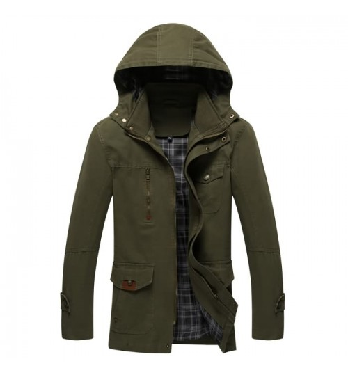 Fall new men's washable jacket long hooded jacket purified cotton