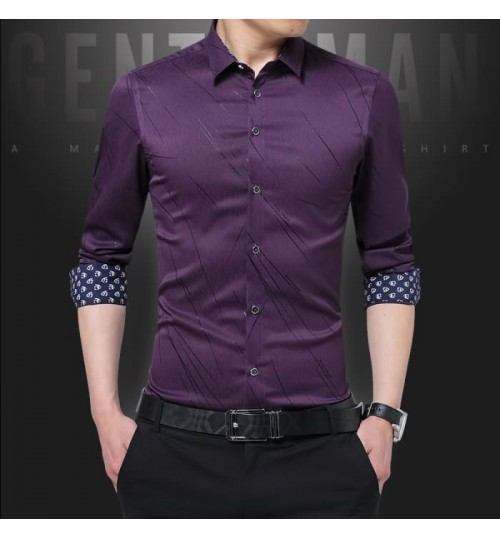 Fashion bark long-sleeved shirt autumn new men's self-cultivation shirt