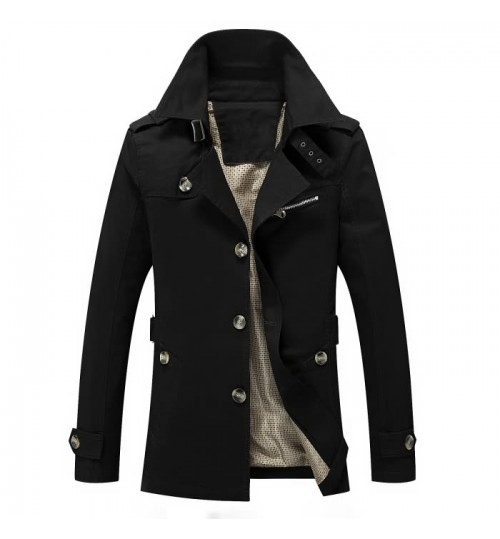 Hot sale Men's wash wind coat Autumn Winter mid-long jacket