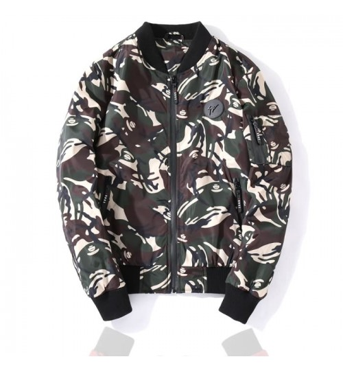 Men's camouflage cashmere warm jacket waterproof zipper male jacket