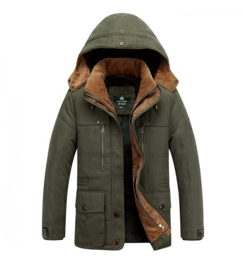 Men's cashmere coat mid-long thickening plus-size cotton-padded jacket 5850#