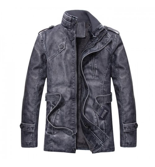 Men's leather coat with wool slim PU wind coat thickened long leather clothing